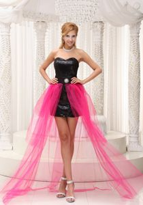 Hot Pink And Black High-low Sweetheart Military Ball Dresses