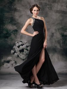 Beaded One Shoulder High Slit Long Military Ball Dress in Black