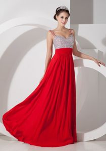 Chiffon Red Empire Long Dresses for Military Ball Beading Straps