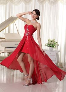 Asymmetrical Wine Red Formal Dress for Military Ball Beading