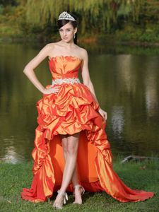 High-low Strapless Military Ball Dresses with Pick-ups in Orange
