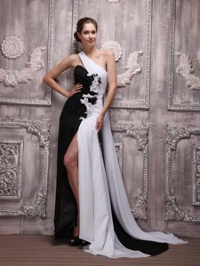 One Shoulder High Slit White And Black Long Military Ball Dress