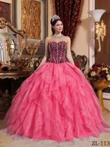 Coral Red Sweetheart Ruffled Marine Corps Ball Dresses On Sale
