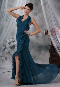 Sexy Halter High Slit Green Ruched Military Ball Gown with Layers