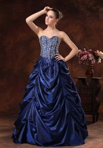 Lace-up Beaded Long Navy Blue Military Ball Gowns with Pick-ups