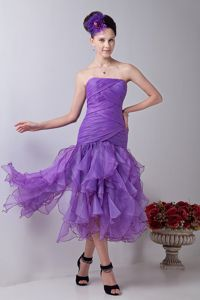 Mermaid Strapless Lavender Ruched Military Ball Attire with Layers