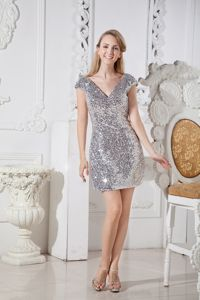 V-neck Cap Sleeves Silver Short Military Ball Dresses with Sequins
