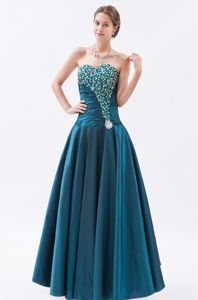 Sweetheart Peacock Green Long Beaded Military Ball Formal Dress