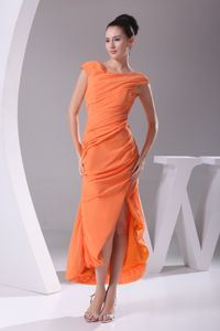 Pretty Scoop Cap Sleeves High Slit Orange Gown For Military Ball