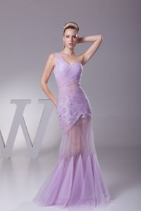 Sexy Mermaid One Shoulder Lavender Ruched Military Ball Gown