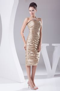 Tea-length Ruched Champagne Military Ball Formal Dress Online