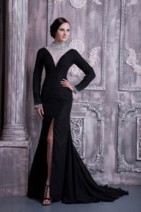 Black Long Military Ball Dress with Keyhole and Sheer High-neck
