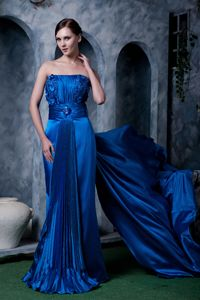 Royal Blue Strapless Watteau Train Military Ball Attire with Flowers