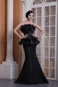 Perfect Mermaid Beaded Black Military Ball Gown with Peplum