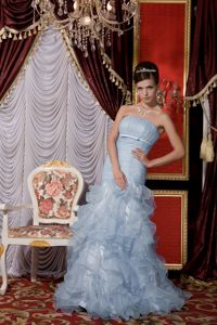 Design Strapless Baby Blue Ruffled Marine Corps Ball Gowns