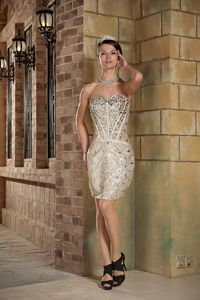 Sequin Champagne Mini Dress for Military Ball with Rhinestones