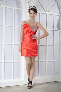 Popular Lace-up Beaded Mini Orange Red Military Ball Dress online
