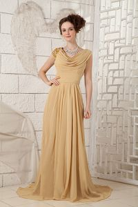 Vintage Cowl Neck Brush Train Champagne Military Ball Dresses