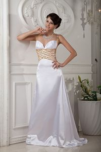 Crisscross Back Beaded White Evening Gowns for Military Ball