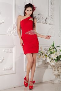 Side Zipper One Shoulder Beaded Red Mini Military Ball Attire