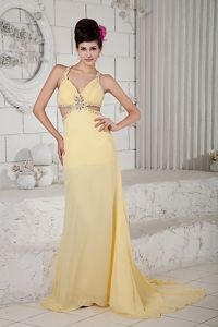 Sexy Beaded Light Yellow Dress for Military Ball with Cool Back