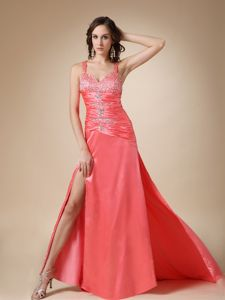 Side Zipper Slitted Beaded Watermelon Red Military Ball Gowns