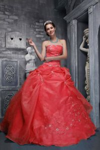 Fabulous Strapless Appliqued Ball Gowns for Military Ball in Red