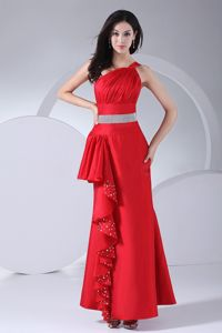 One Shoulder Red Long Military Ball Dress with Ruche and Beads