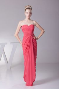 Chiffon Ruched Long Formal Dress for Military Ball in Coral Red