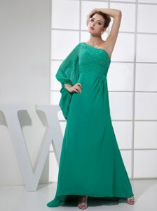 Special Beaded Green Military Ball Dress with Single Long Sleeve