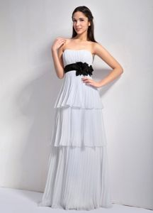Pleated Tiered White Formal Dress for Military Ball with Flowers