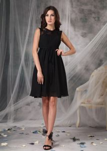 High-neck Black Chiffon Military Ball Dress with Lace Knee-length