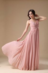 Peach Pink V-neck Gown For Military Ball in Chiffon with Ruches