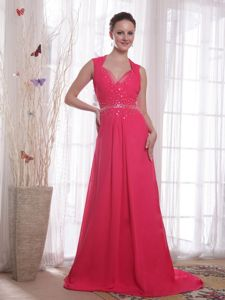 Coral Red V-neck Chiffon Plus Size Formal Dresses with Beading