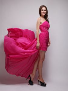 Hot Pink One Shoulder Beaded Military Ball Gown with Brush Train