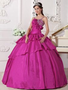 Fuchsia Floor-length Taffeta Gown For Military Ball with Beading