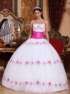 White and Pink Strapless Plus Size Formal Dresses with Appliques