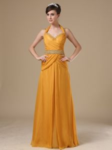 Chiffon Halter Evening Gowns For Military Ball Gold with Beading