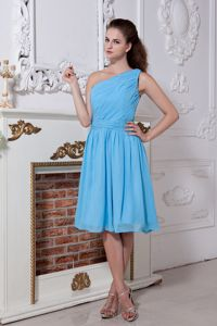 Aqua One Shoulder Short Chiffon Military Ball Dress with Ruches