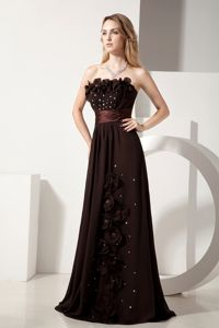 Beading Brown Gowns for Military Ball with Floral Embellishment