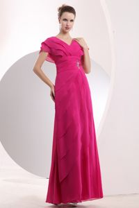 2014 Hot Pink V-neck Chiffon Military Ball Dress with Beaded Waist