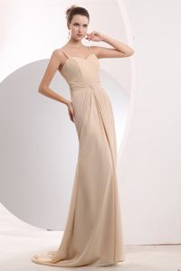 Plus Size Spaghetti Straps Chiffon Formal Dresses with Brush Train