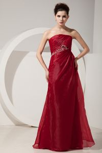 Wine Red Strapless Ruched Organza Military Ball Gowns in Canada