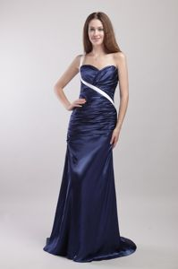 Navy Blue One Shoulder Marine Corps Ball Dress with Brush Train
