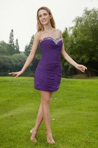 Purple Sweetheart Beading Ruched Military Ball Dresses Mini-length