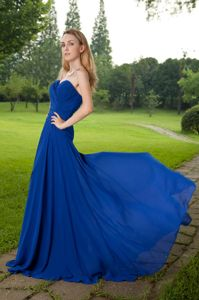 Plus Size Blue Sweetheart Chiffon Formal Dresses with Brush Train