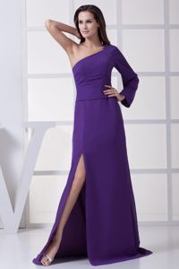 Purple One Shoulder Military Ball Gown with Slit on the Side Cheap