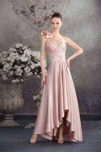 High-low Ruching Gowns for Military Ball with Hand Made Flowers