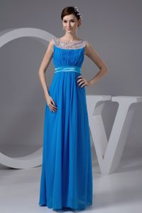 Sheer Neck Beaded Long Dresses for Military Ball with Side Zipper