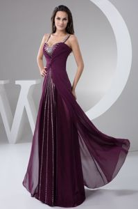Plus Size Straps Beading Ruched Chiffon Formal Dresses in Purple